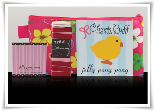 Jelly Pong Pong Cheek Puff & Floral Cosmetic Bag Set 1
