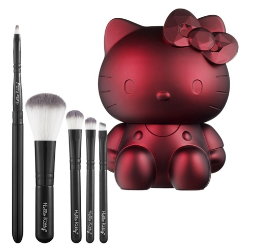 Hello Kitty Noir 5 Piece Brush Set Black or Ruby 0