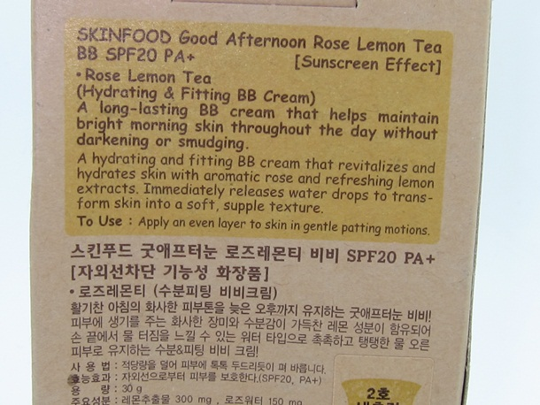 Skin Food Good Afternoon Rose Lemon Tea BB Cream Review & Swatches