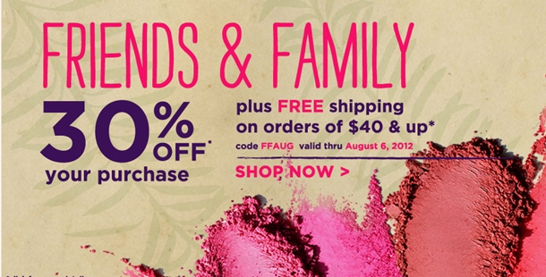 Tarte Friends and Family 30% Off Coupon Code July-August 2012