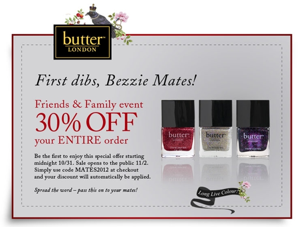 Butter London Friends and Family Sale