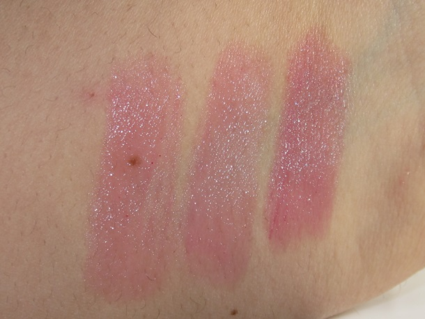 Bare Minerals Glisten Up Loud & Clear Lip Shimmer Trio Swatches