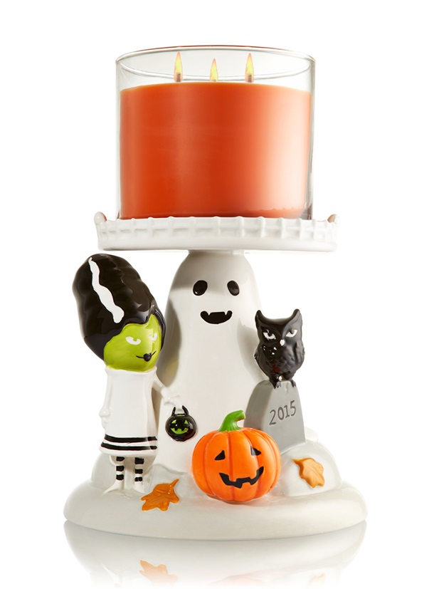 bath & body works halloween 3 wick candle pedestal