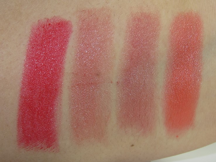 E.L.F. Lip Kiss Balm Swatches (XO Red, Bare Kiss, Smoochy Spice, Kissing Coral)