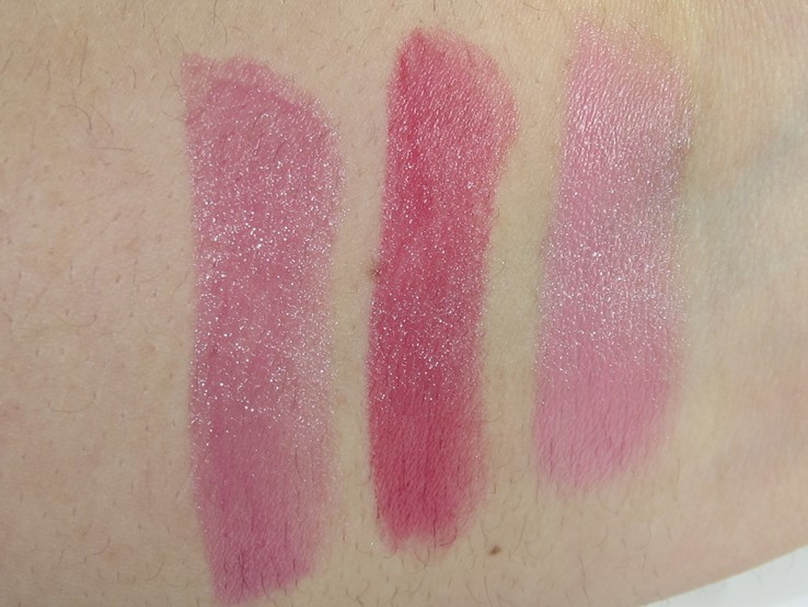 Essence Sheer & Shine Lipstick Swatches (Sparkling Miracle, I Feel Pretty, Candy Love)