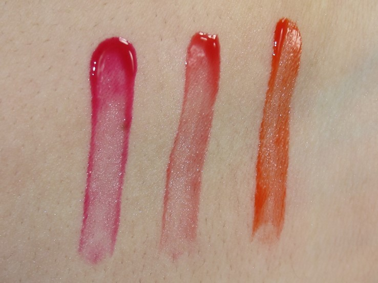 E.L.F. Aqua Beauty Radiant Gel Lip Stain Swatches (Dew Berry, Rouge Radiance Red Orange Wash)