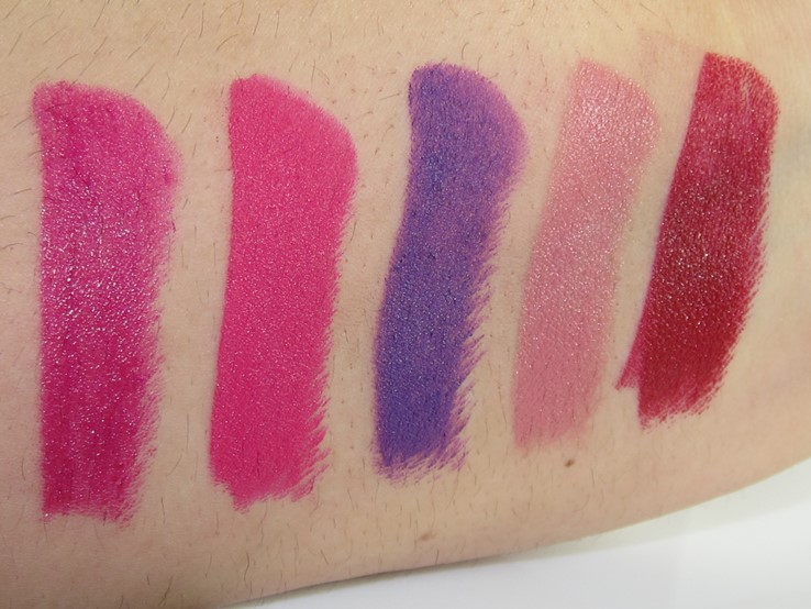 Urban Decay Vice Lipstick Swatches (Firebird, Menace, Pandemonium, Naked, Rock Steady)