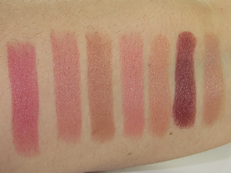 Bare Minerals Your Kiss Is On My List Swatches (XOX, Heaven, Honeybun, Kitty, Nudist, Queen, Sexpot)