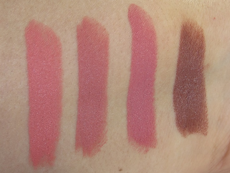 Maybelline Inti-Matte Nudes Lipstick Swatches (Honey Pink, Naked Coral, Almond Rose, Toasted Truffle)
